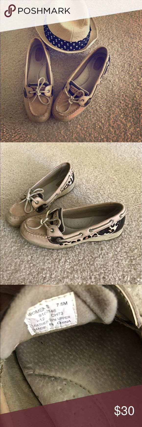 Sperry boat shoes For sale-sperry boat shoes with cheetah accents. Bought 4 years ago, worn about 6 times-have been sitting in my closet for awhile. Shows some signs of wear but many years left. Look great with jeans. Open to offers! Sperry Shoes Sneakers