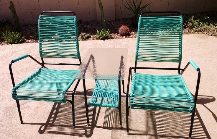 Mid century vinyl cord patio set Vintage Metal Porch Chairs Pinterest