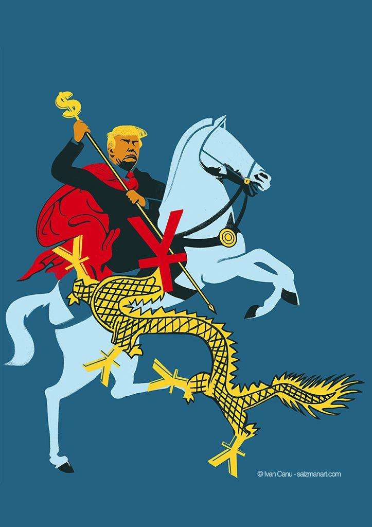 @Ivan Canu, Trumpenomics, scenaries of economics relationship between USA and China after Donald Trump's first steps as President, client: A Plus Magazine, AD: Queenie Lee - salzmanart.com #editorial #magazine #economics #USA #China #horse #dragon #value #rider #saintgeorge