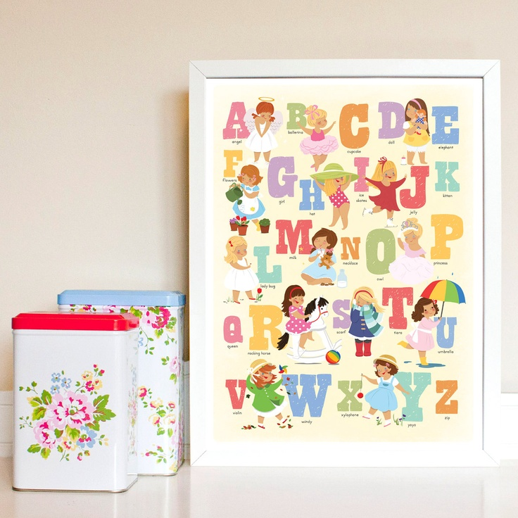 Girly Bedroom Posters: Alphabet Poster For Girls Print In Girly Colours. Bedroom