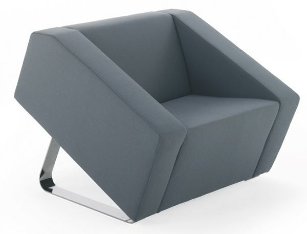 Obelisk Reception Seating The rectangular forms that make up the body have striking angular facets Pronounced tilt on broad sturdy formed steel legs The generous size, method of construction and excellent ergonomics provide superb comfort and personal space in both the chair and the sofa.ÂÂ