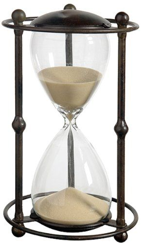 1 Hr Hourglass Sand Timer In Stand Tan 12 5 Inch