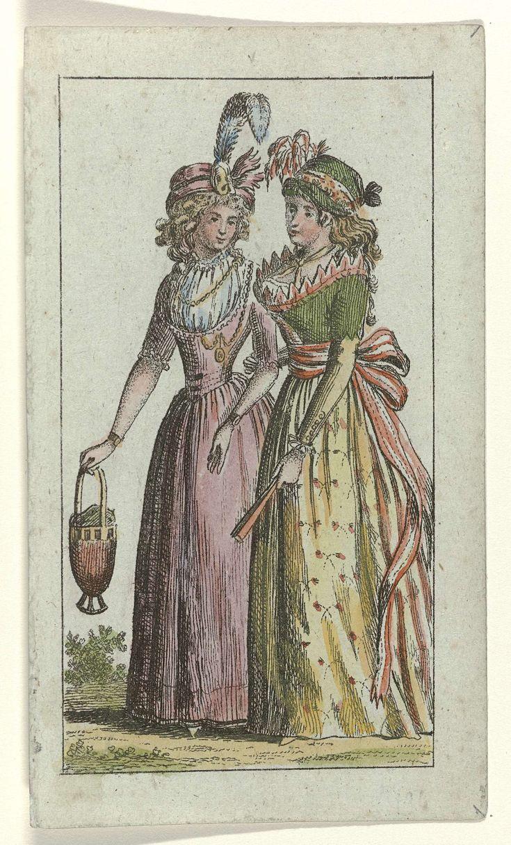 Almanakprentje uit Modes Révolutionaires, 1796: Twee vrouwen met op het hoofd een tulband