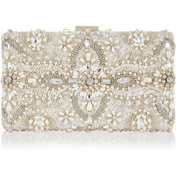 Monsoon Aimee Embellished Bridal Box Clutch Bag (£98) ❤ liked on Polyvore featuring bags, handbags, clutches, white clutches, bridal clutches, hard clutch, white purse and white box clutch