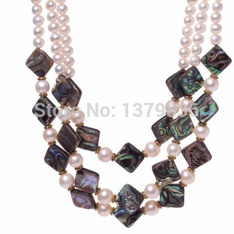 Купить Элегантный стиль ну вечеринку дизайн три Strands белой пресноводной и ожерельеи другие товары категории Прочеев магазине Lucky Fox JewelryнаAliExpress. ожерелье бахромой и перл почвы
