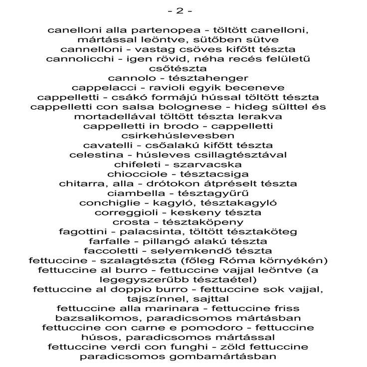 2. Olasz-magyar tésztaszótár grocceni.com/...