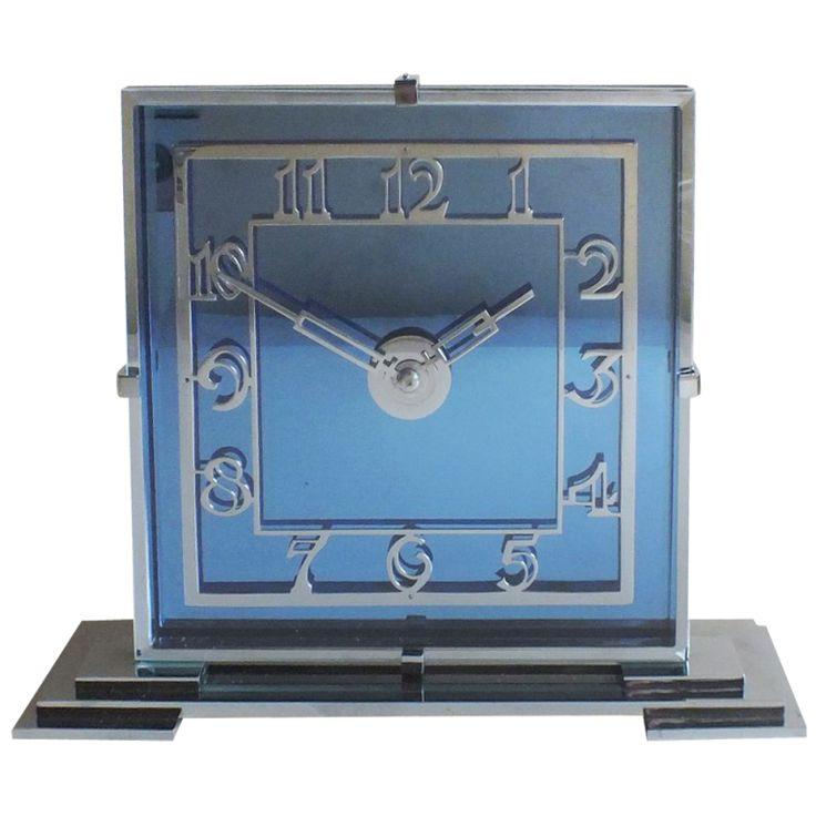 Art Deco Cobalt Blue Clock / English Moderne, Circa 1930's