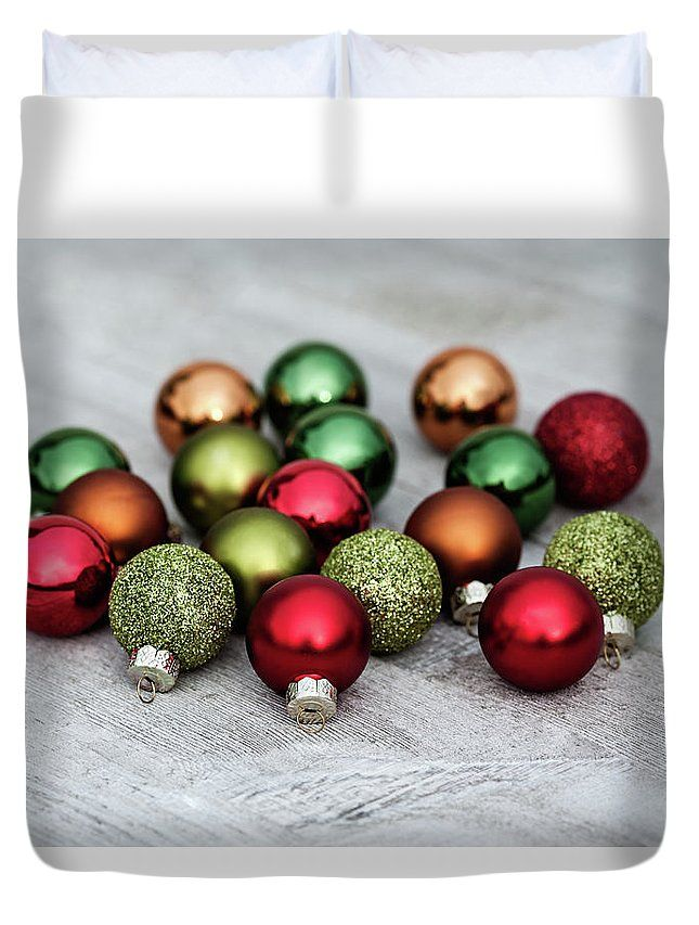 Duvet Cover featuring the photograph Festive Balls by Evgeniya Lystsova. Christmas Decorations on Wooden Table in Daylight, Winter Holiday Concept. Christmas Creation Duvet Cover for your Home Decor. For more options visit my gallery. #Christmas #DuvetCover #HomeDecor #GiftIdeas #Decoration