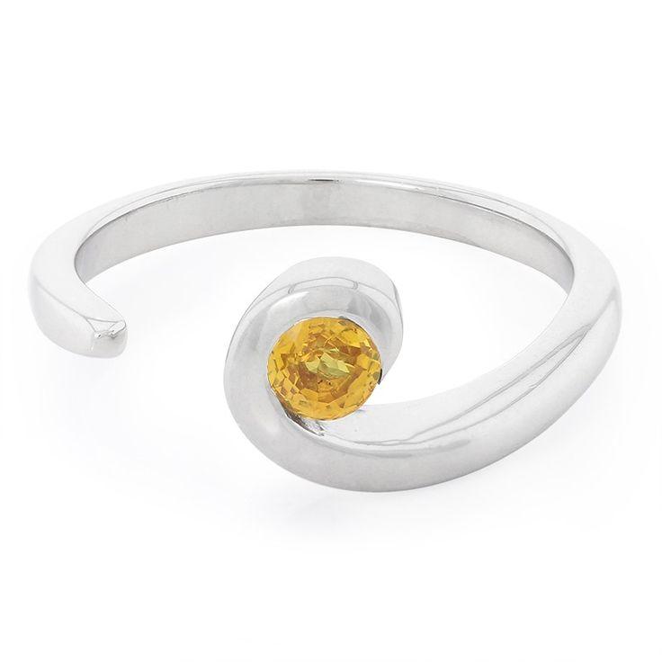 Bague en argent et Saphir jaune-5481CP | Juwelo Bijouterie