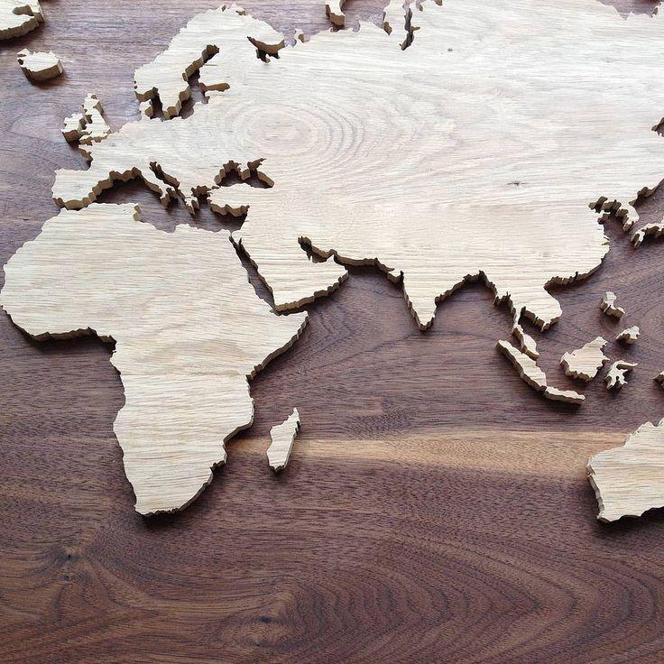 World map in oak and walnut