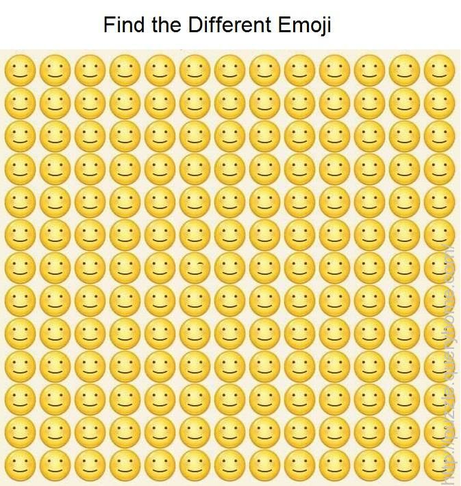 Find The Different Emoji In The Following Image Funny Mind Tricks Funny Illusions Emoji