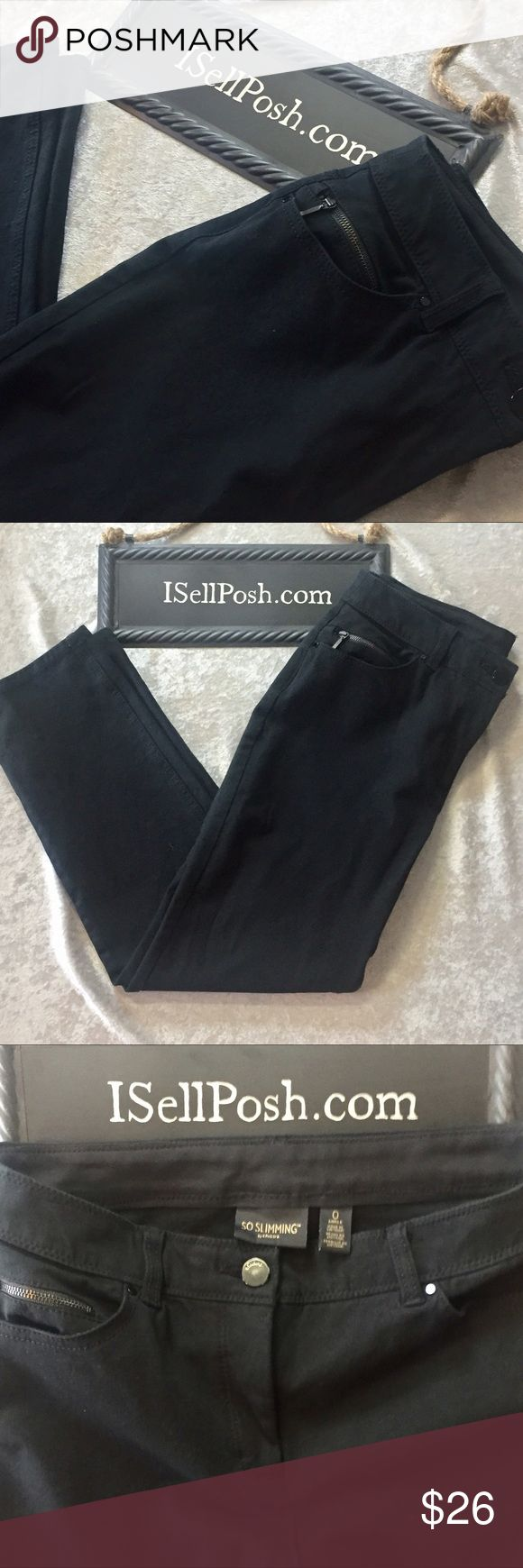 Black So Slimming jeans by Chico's sz 4 EUC Black jeans by Chico's. Style is So Slimming Ankle and is a Chico's size 0 which converts to a size 4. Size chart provided. Chico's Jeans Ankle & Cropped