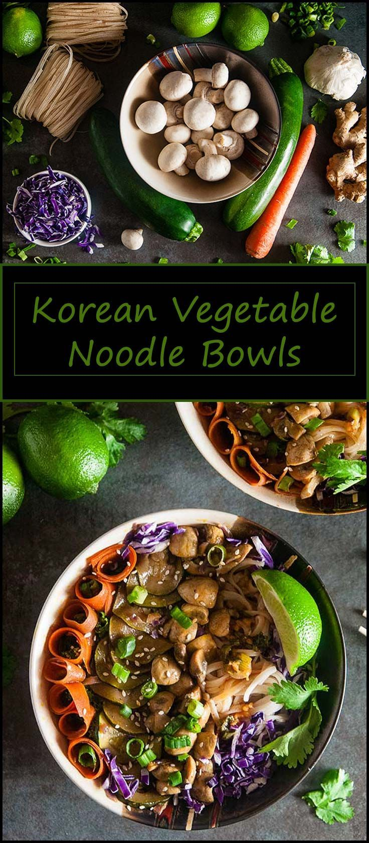 Quick Korean Vegetable Noodle Bowls inspired by bibimbap make for a vegetarian and gluten free friendly lunch or dinner that's ready in under 20 minutes from www.seasonedsprinkles.com #recipe #dinner #vegetarian #glutenfree #noodlebowl