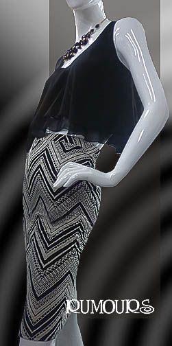 Falda en tela elástica con estampado a rayas
