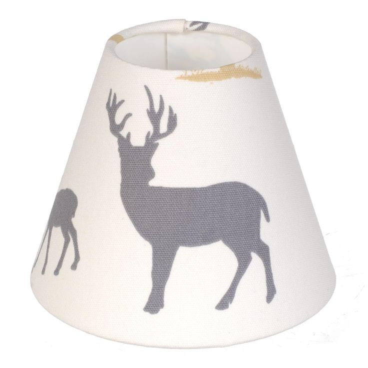 candle shade in stag print cotton lamp shades jim. Black Bedroom Furniture Sets. Home Design Ideas