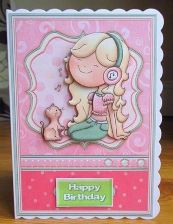 MUSICAL MAISY Birthday Girl Topper Decoupage on Craftsuprint designed by Janet Briggs - made by Johanna  Lambert