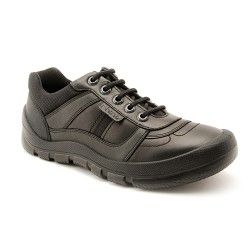 Rhino Sherman - Black Leather - these lace-up boys school shoes are modern, trendy and practical