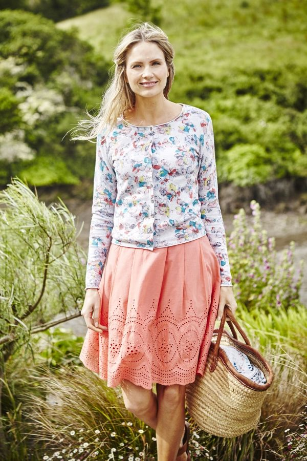 St Ives Skirt Plain Embroidered Coral