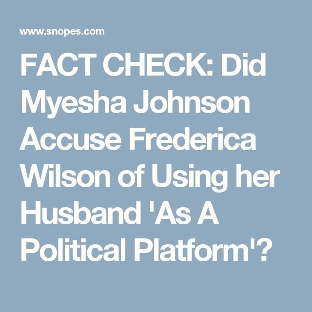 FACT CHECK: Did Myesha Johnson Accuse Frederica Wilson of Using her Husband 'As A Political Platform'?