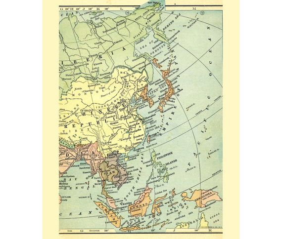 55 best maps stationery and envelopes images on pinterest contact asia china japan indonesia antique vintage map of 1909 by workbox publicscrutiny Image collections