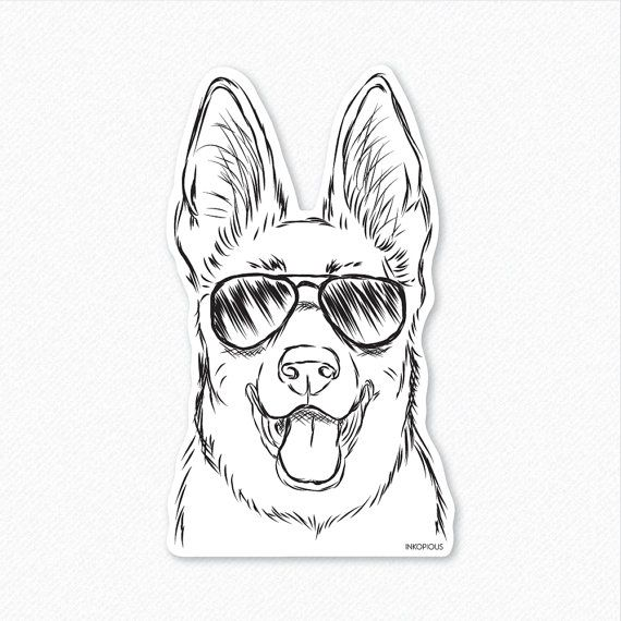 Brutus - German Shepherd Decal Sticker, Gifts For Dog Owner, German Shepherd Art, German Shepherd Love, Dog Lover Art, Dressed Dog