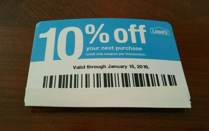 Lowe's 10% Coupon In Store or Online Exp Jan 15, 2016