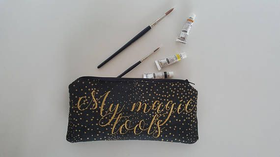 Canvas Pencil Case Zipper Purse With Gold Embroidery Purse