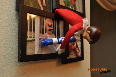 Our Favorite Elf on the Shelf Ideas.....putting silly faces on pictures of family members!!