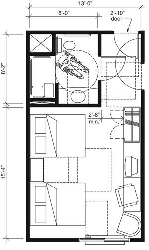 This Drawing Shows An Accessible Wide Guest Room With Features That Comply  With The 2010 Standards. Features Include A Transfer Shower, Comparable  Vanity, ...