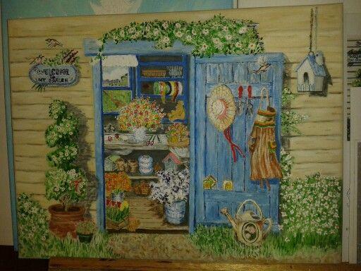 The garden house.  Oil on canvas