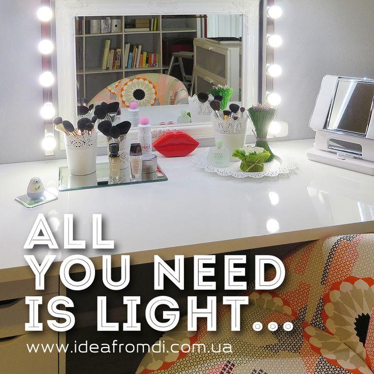 освещение при макияже, правильное освещение при макияже, освещение и макияж, зеркало для макияжа, гримерные зеркала, ikea alex, икеа алекс, учет света при макияже,туалетный столик бьюти блоггера
