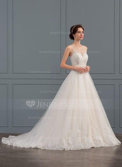 a7b4c044cac  US  248.99  Ball-Gown Scoop Neck Court Train Tulle Lace Wedding Dress With  Beading Sequins