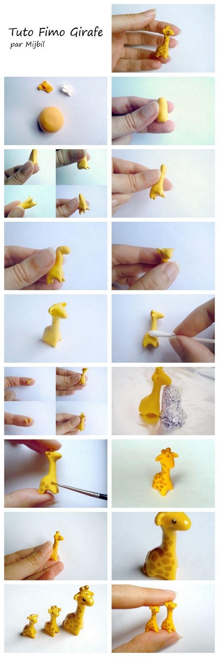 Como hacer una jirafa en porcelana fria