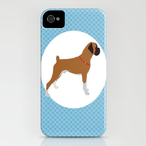 Boxer Dog on iPhone Case - ( 4S, 4, 5)  boxer on iphone, blue, silhouette, pet lover, boxer case on Etsy, $37.00