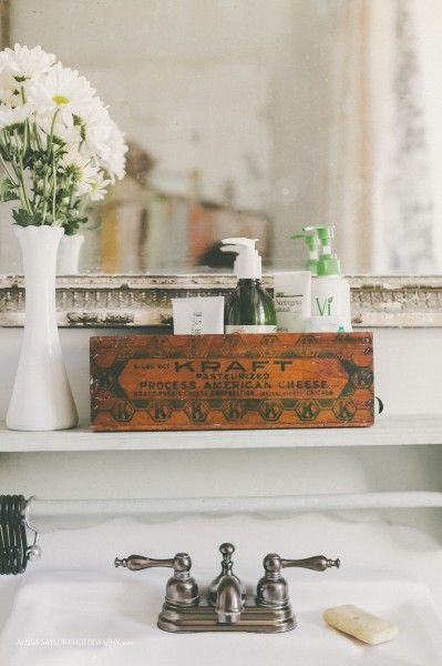 Old wooden crate perfect for bathroom storage eclecticallyvintage.com