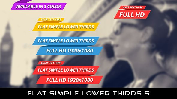 Flat Simple Lower Thirds 5  12 Lowerthirds | Full HD 1920×1080 | Quicktime PNG alpha codec | Each 10 seconds.  Available in 3 colors : Red, Blue, Yellow  Download it here : https://videohive.net/item/flat-simple-lower-thirds-5/20042599  If you love my work, don't forget to rate it. Thank you.  #envato #videohive #motiongraphic #aftereffects #animatedlowerthird #broadcast #caption #color #corporate #elegant #flat #modern #presentation #ribbon #simple #television #text #title #youtube