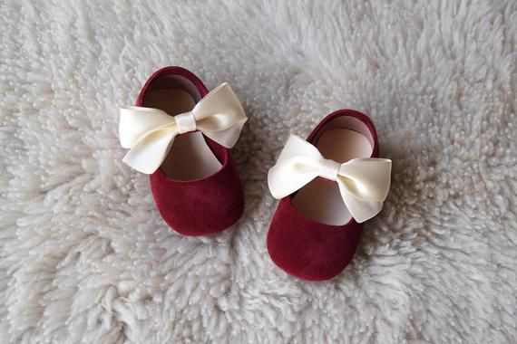 Burgundy Baby Girl Shoes, Baby Shoes