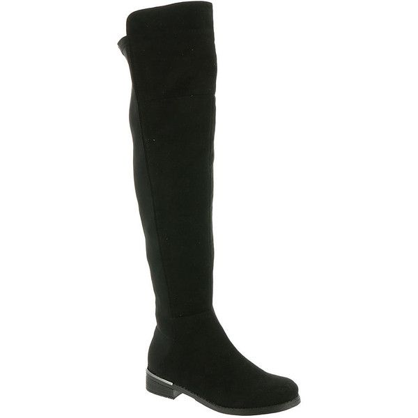 Beacon Helena Women's Black Boot 12 W (£69) ❤ liked on Polyvore featuring shoes, boots, black, over-the-knee boots, faux suede over the knee boots, black stretch boots, low heel boots, black thigh high boots and black faux suede boots
