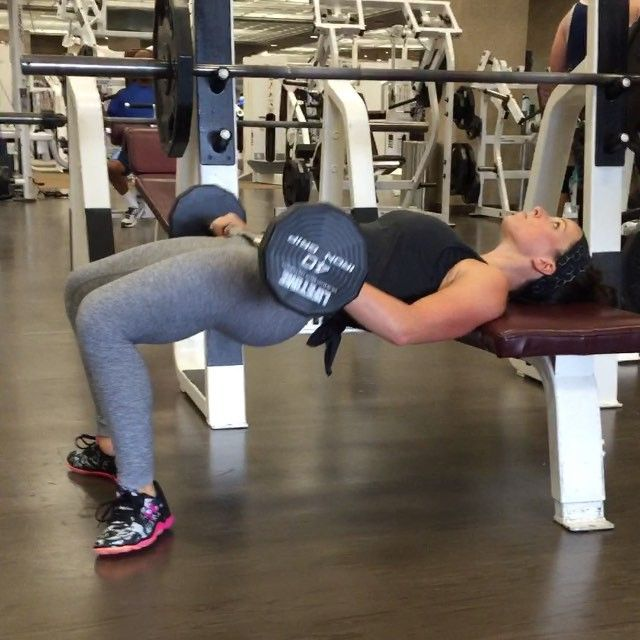If you struggle with feeling glutes during a regular glute bridge try this position with your feet! You will need to use less weight for this than you for regular glute bridges but you should really feel it in your glutes!!! - Full glute programs (home and gym) for sale on SARAHBOWMAR.COM by sarah_bowmar