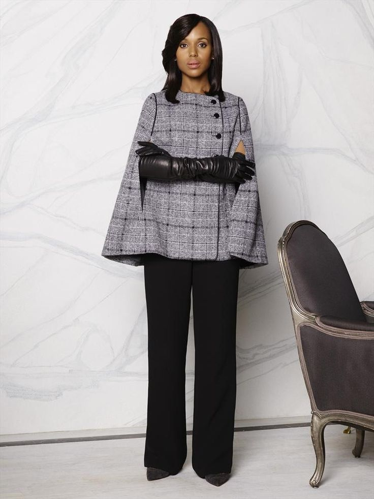 21 Times Olivia Pope Was So Perfect You Just Couldn't Deal - not one for capes (dunno why, cos I like the look of them), but I'd wear this just for them gloves!!