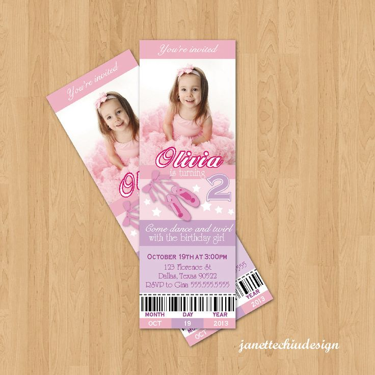 Ballet Ticket Birthday Party Photo Invitation Digital Printable, any wording any color any age by JanetteChiuDesign on Etsy https://www.etsy.com/listing/164584228/ballet-ticket-birthday-party-photo