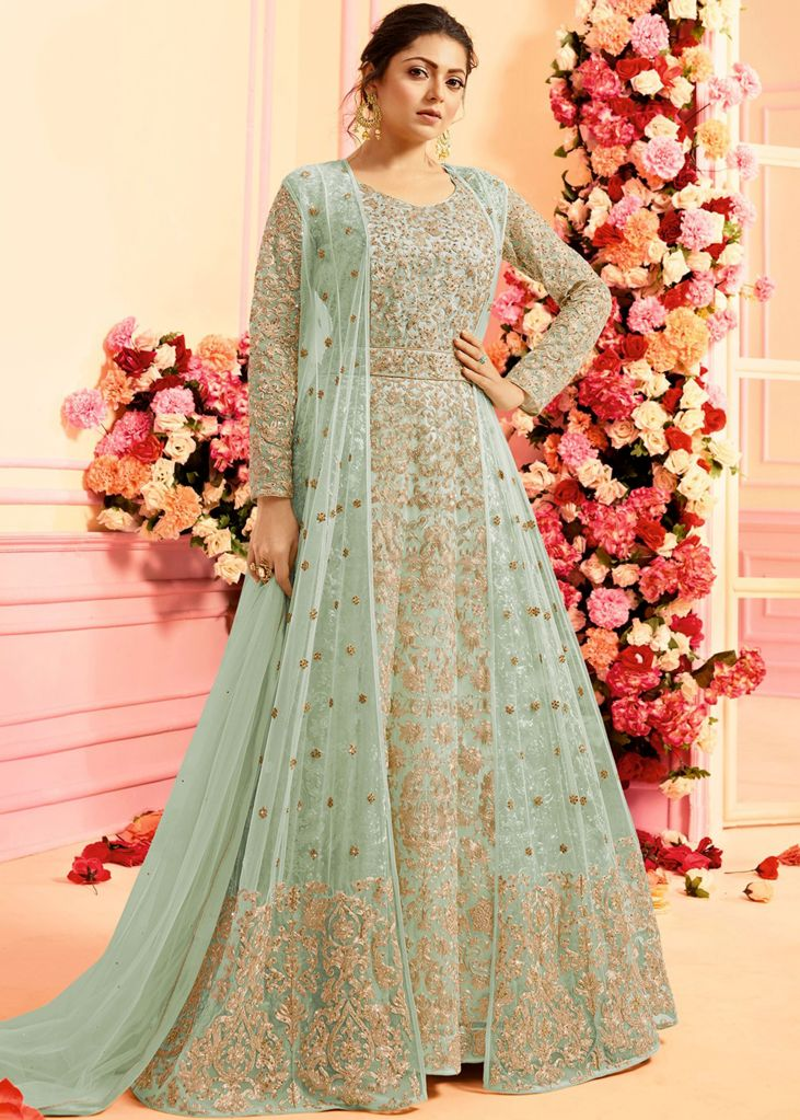 3488a48fc0 Powder Blue Designer Heavy Embroidered Net Evening Anarkali Gown in 2019 |  Gowns | Anarkali suits, Anarkali gown, Party wear dresses