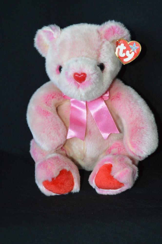 "TY Original Beanie Buddie Buddy Romance 13"" Bear Pink Red Valentines Day Hearts #Ty"