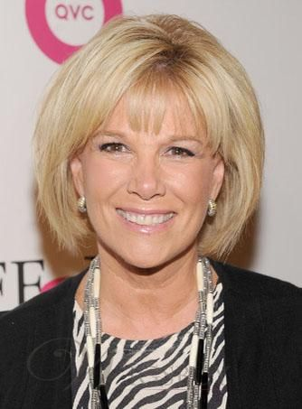 Graceful Joan Lunden Bob Hairstyle Straight Blonde 100% Human Hair Wig about 8 Inches