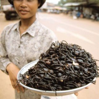 FRIED TARANTULAS Where It's Sold: Cambodian street markets The Fried Facts: Frying is a beloved cooking method across the globe. If you're looking for mid-afternoon snack in Skuon, Cambodia, the top choice is definitely fried tarantulas — head, legs, fangs, and all!