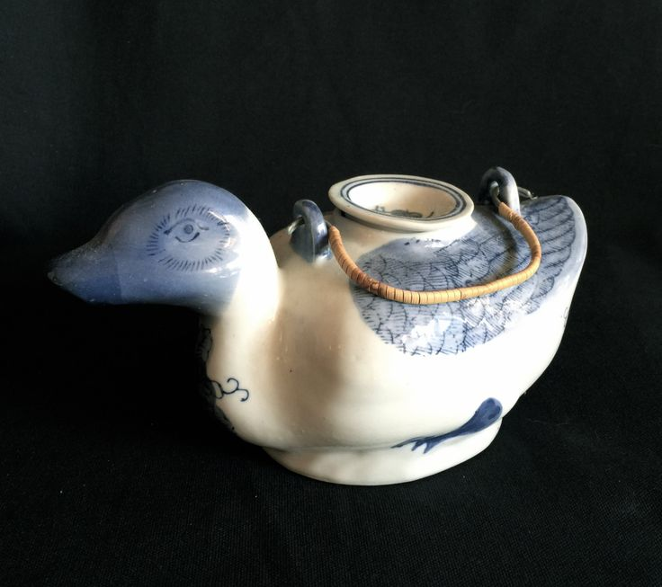 .........https://www.etsy.com/shop/CoCoBlueTreasures #bing #googleplus #google #yahoo #googleads ..............On sale asian teapot replacement teapot Japanese blue & white porcelain duck tea server
