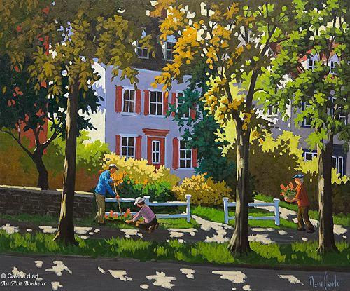 Rémi Clark, 'De soleil et de bon voisinage', 30'' x 36''   Galerie d'art - Au P'tit Bonheur - Art Gallery