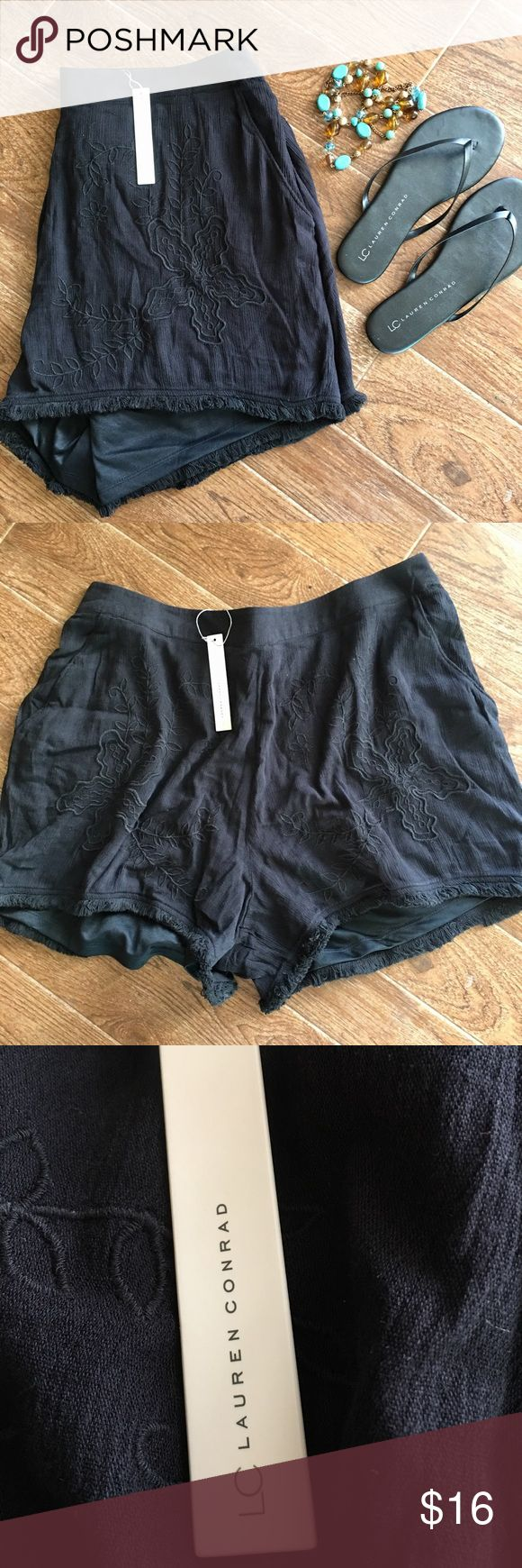Lauren Conrad - Gorgeous Black embellished shorts Lauren Conrad brand black embellished shorts, NWT. Size XL. 52% cotton 48% rayon lining is 100% polyester and lace is 100% cotton.please check out my other boutique items and bundle and save. Super fast shipping! LC Lauren Conrad Shorts