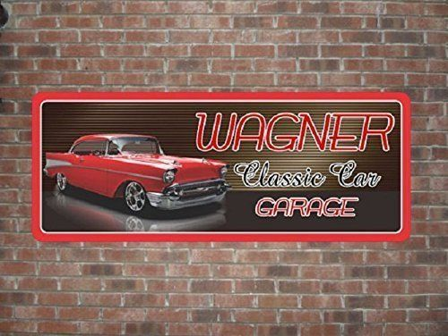 "1957 Chevy Bel Air Personalized Garage Sign, Vintage Car Sign, Classic Car Sign, Gift for Car Lovers. If you adore classic cars and 1950s style, then you need to hang this vintage car sign in your home or garage! The design showcases a beautiful red '57 Chevy Bel Air with chrome details. Red and black letters in a retro font display your custom name with ""Classic Car Garage"". You can change the name only and/or any line of text to your favorite words or phrase! • Printed on Durable Vinyl…"