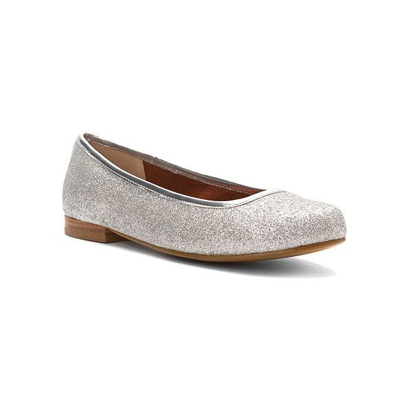Ros Hommerson Odelle  Flats (2.860 RUB) ❤ liked on Polyvore featuring shoes, flats, casual shoes, silver glitter, women, ballet pumps, glitter shoes, silver ballet flats, ballerina shoes and ballerina flat shoes
